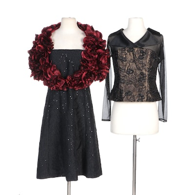 Simon Chang Sequin Dress and Beaded Bodice Top with Alberto Makali Rosette Shrug