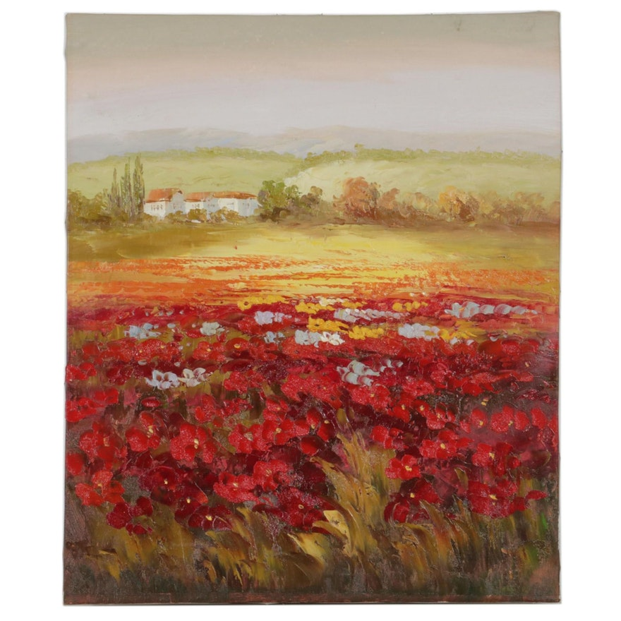 Impressionist Style Acrylic Painting of Floral Landscape