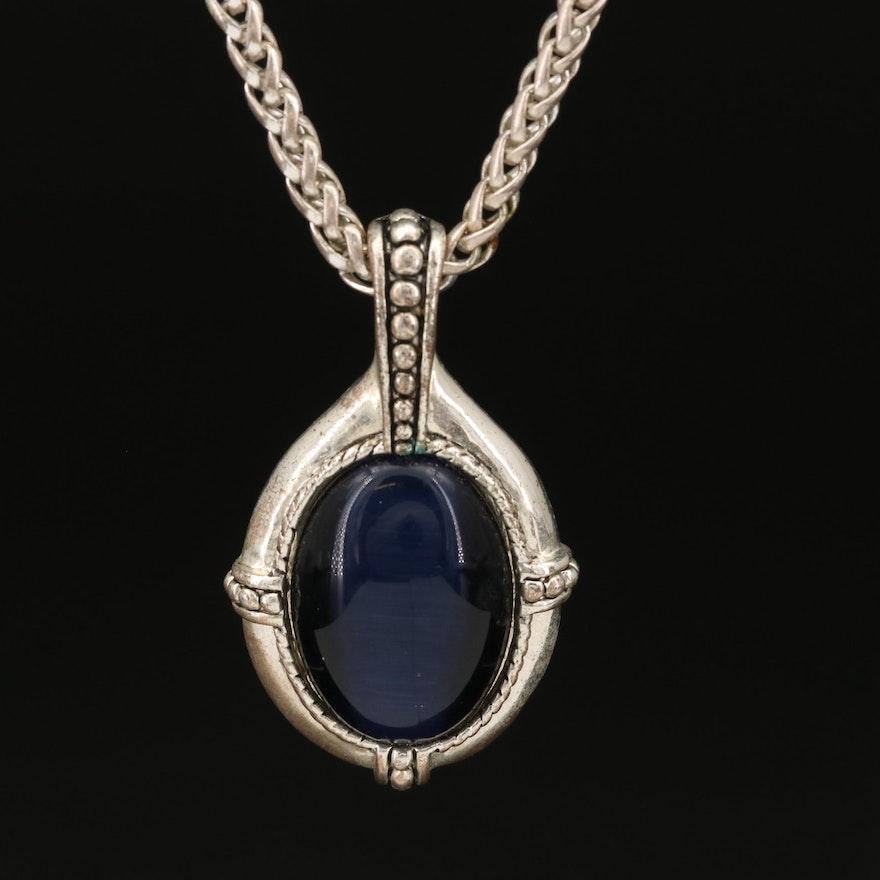 Cat's Eye Glass Pendant Necklace