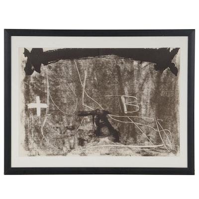 """Antoni Tàpies Double-Page Lithograph for """"Derrière le Miroir,"""" 1974"""
