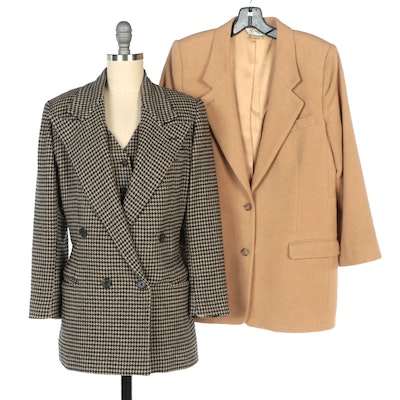 Ralph Lauren Houndstooth Blazer and Vest Set with Austin Reed Camel Hair Blazer