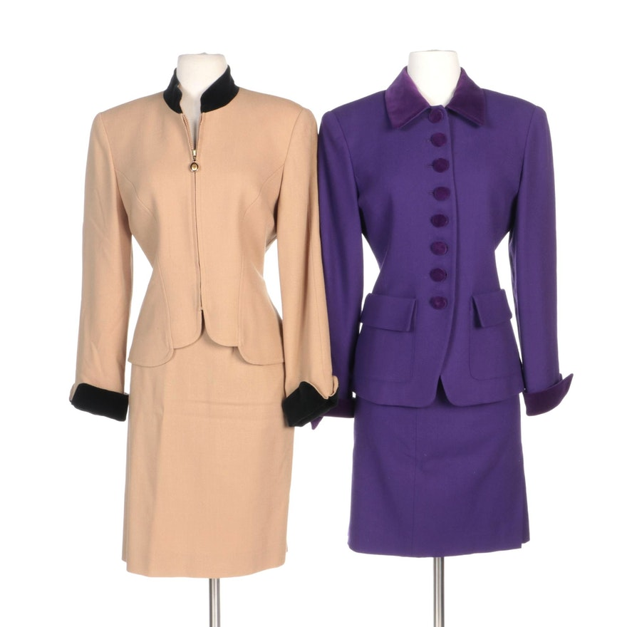 Christian Dior Purple and Beige/Black Woolen Skirt Suits