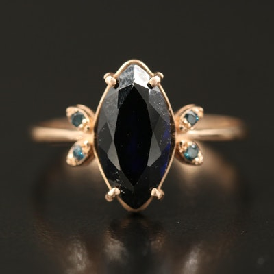 14K Sapphire and Diamond Navette Ring
