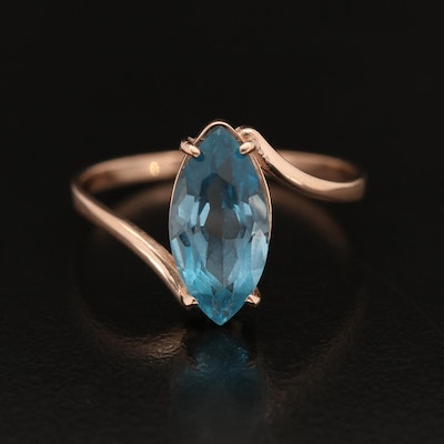 14K Rose Gold Topaz Bypass Ring