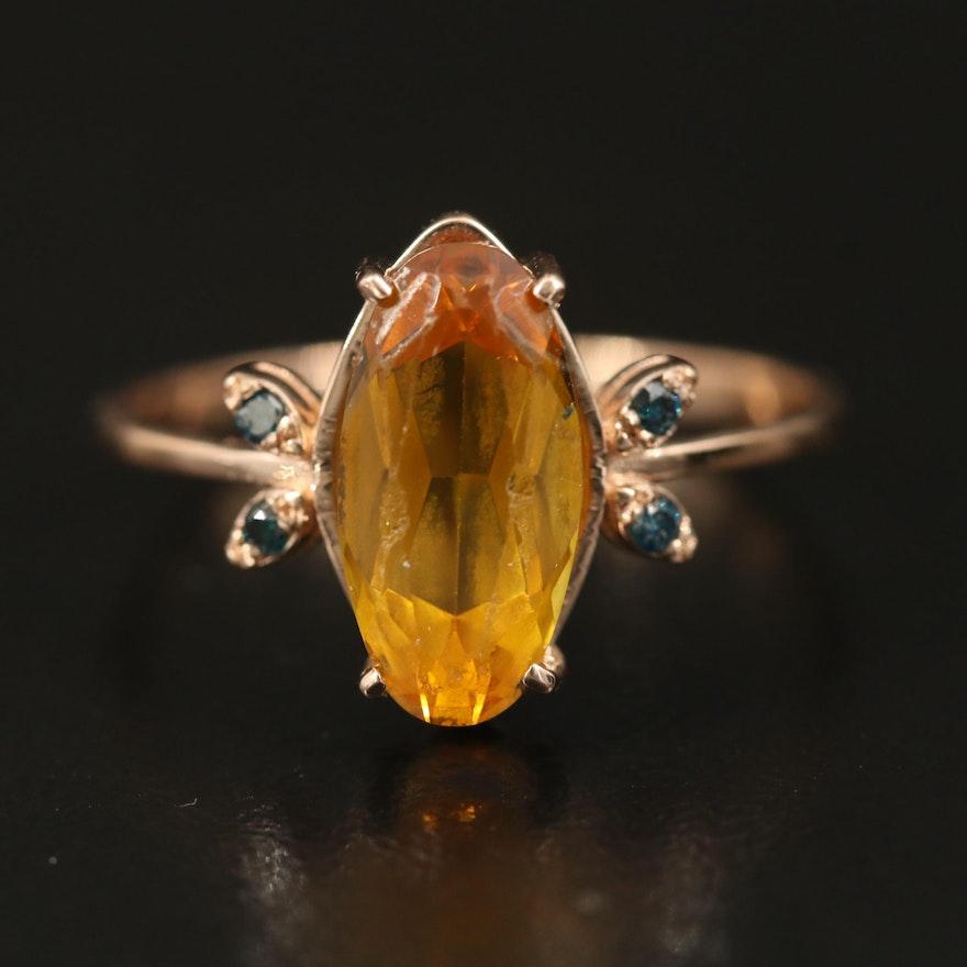 14K Sapphire and Diamond Ring