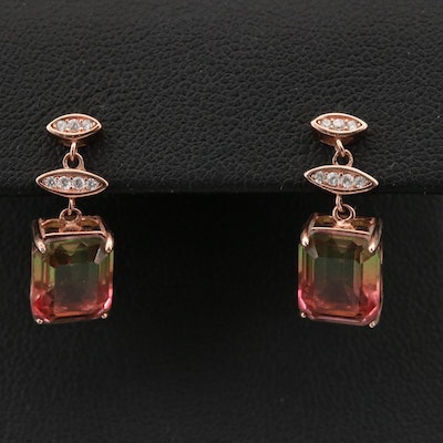Sterling Cubic Zirconia and Glass Triplet Drop Earrings