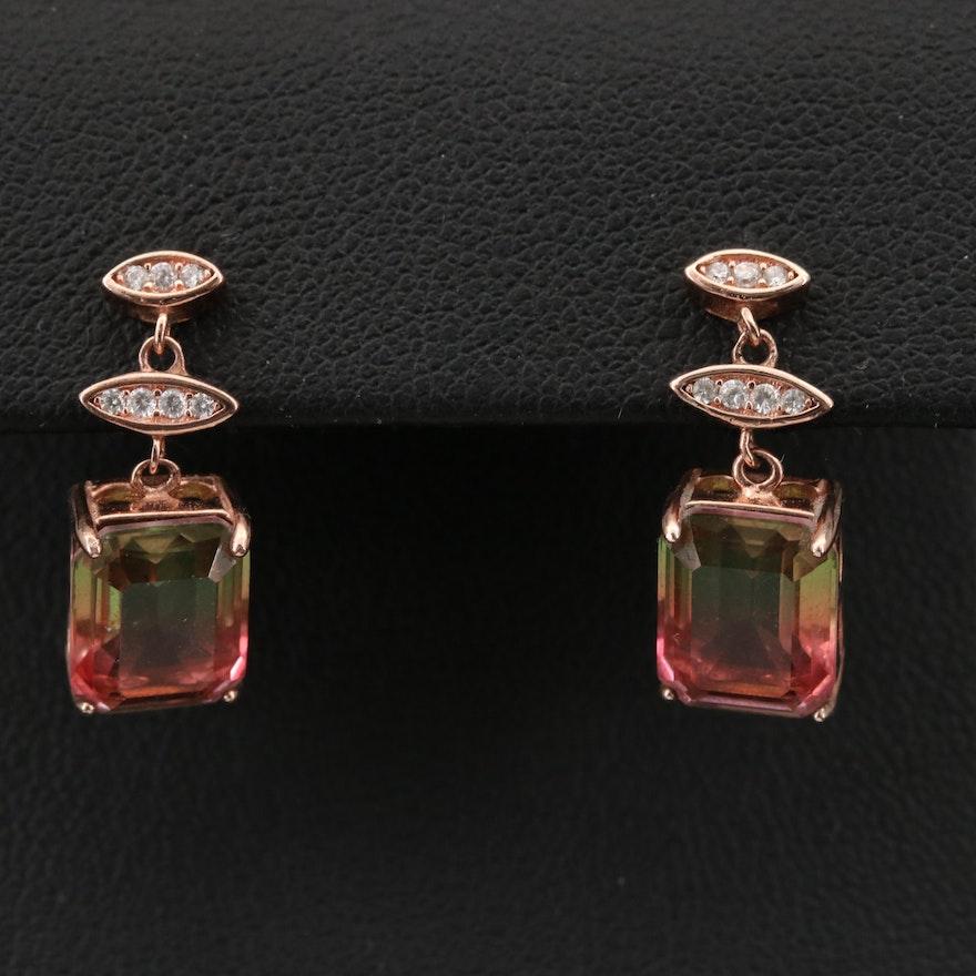Sterling Cubic Zirconia and Glass Triplet Drop Earrings