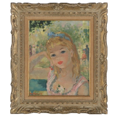 Maurice Alleroux Oil Painting of Young Girl, Mid-20th Century