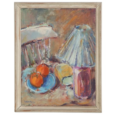 Oil Painting of Fruit and Lamp Still Life, Mid-20th Century