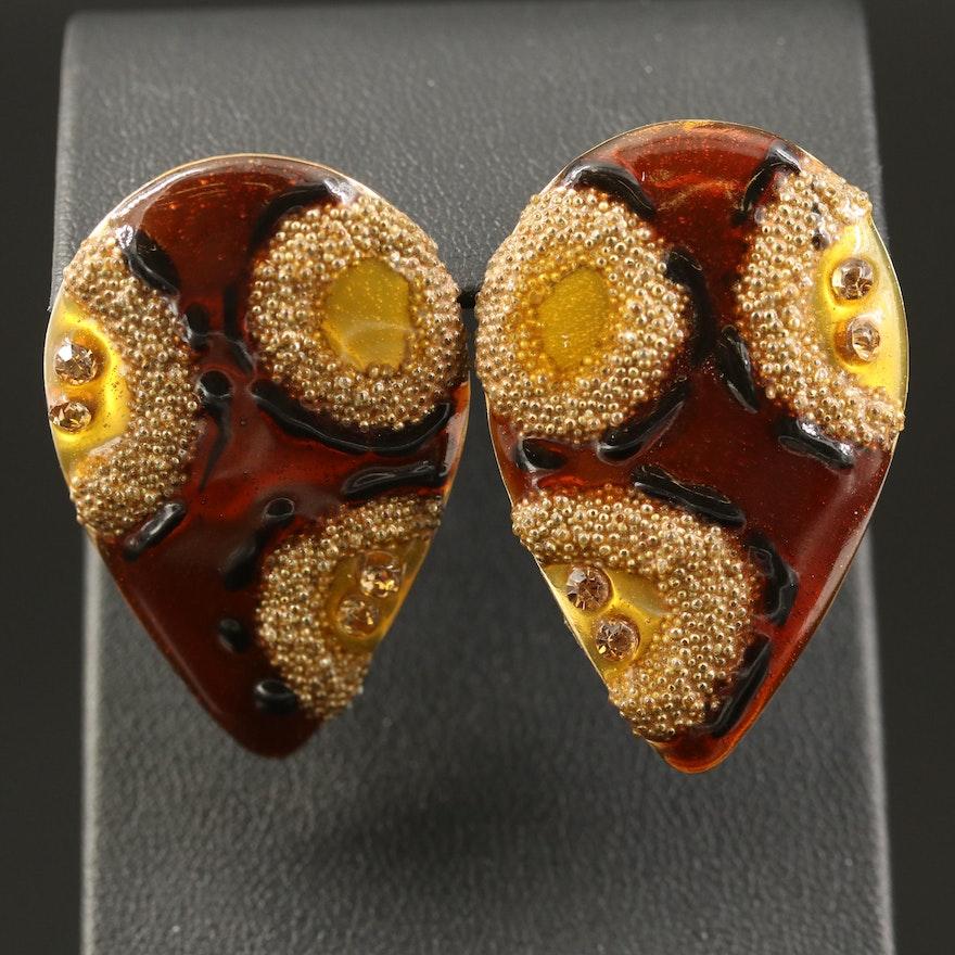 Rhinestone and Enamel Button Earrings