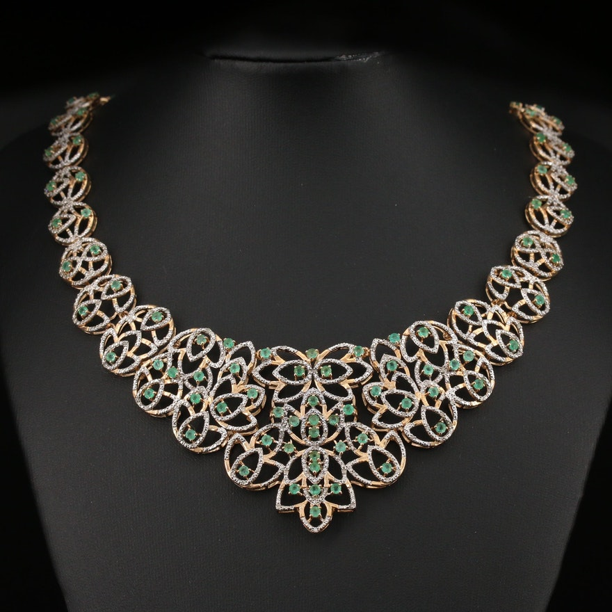 Aaron Isaacs Sterling Emerald and Diamond Bib Necklace