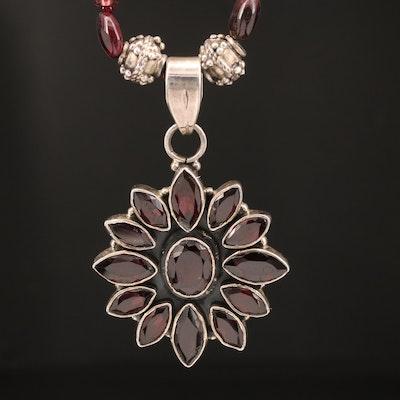 Sterling Garnet Floral Drop Necklace