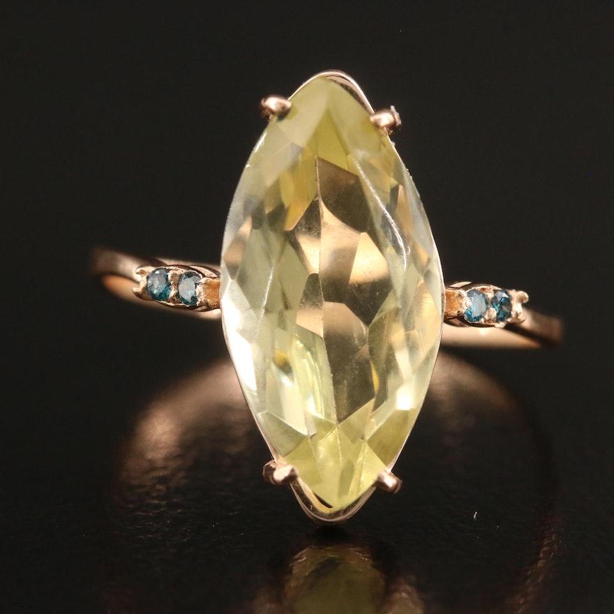 14K Rose Gold Citrine and Diamond Ring