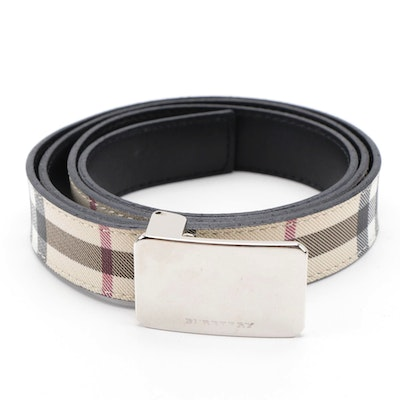 "Burberry ""Nova Check"" and Black Leather Belt"