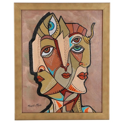 Ricardo Maya Abstract Figure Acrylic Painting