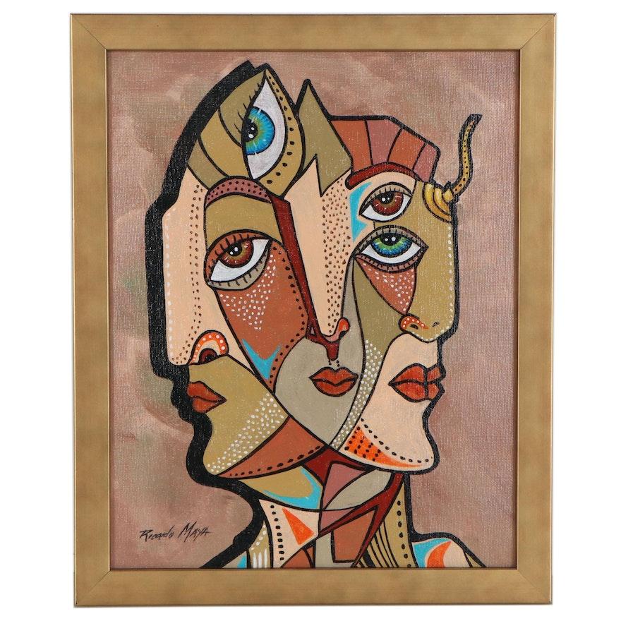 Ricardo Maya Abstract Figure Acrylic Painting