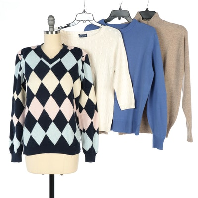 Brooks Brothers Argyle Sweater with Other Brands Cashmere and Silk Sweaters