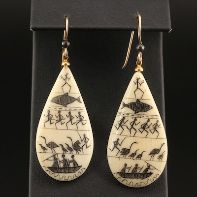 Bone Dangle Earrings with Hieroglyphic Style Design