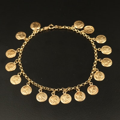 18K Roman Token Bracelet