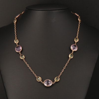 14K Amethyst and Prasiolite Station Necklace