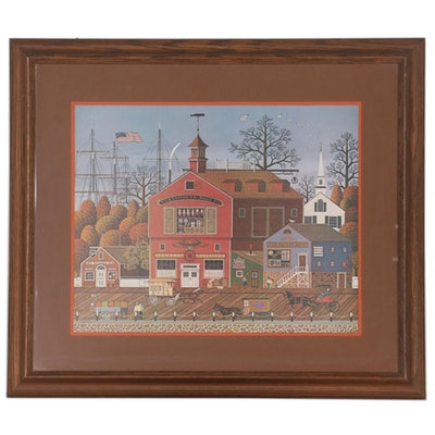 "Offset Lithograph after Charles M. Wysocki ""Harbor Town,"" Late 20th Century"