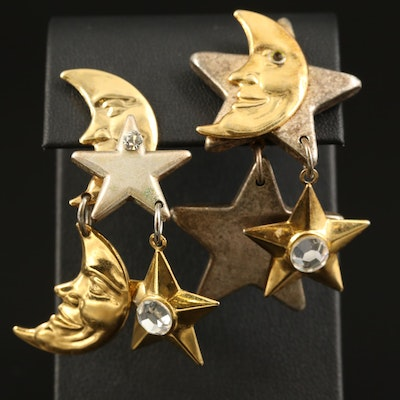 Star and Moon Rhinestone Earrings