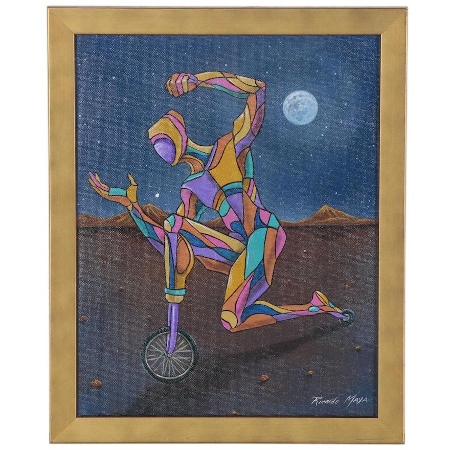 Ricardo Maya Abstract Figural Acrylic Painting