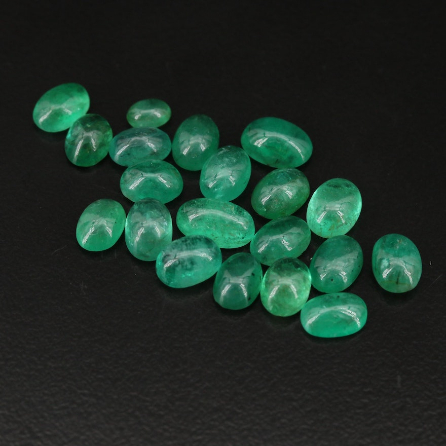 Loose 19.15 CTW Oval Emerald Cabochons