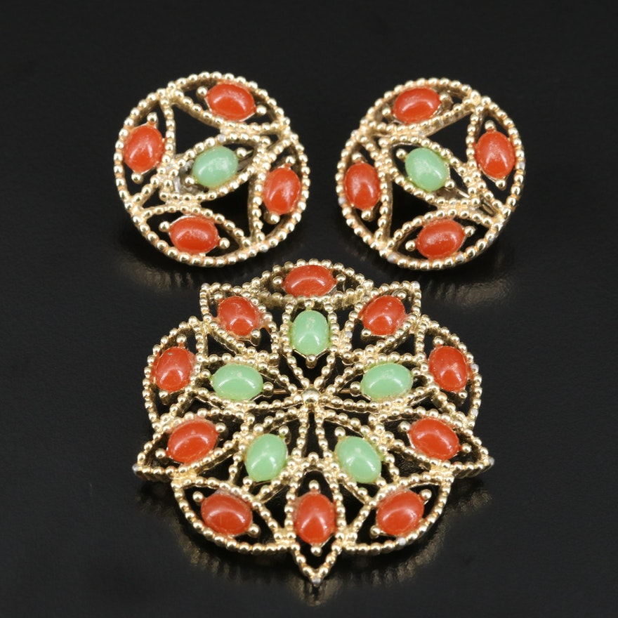 Sarah Coventry Red and Green Glass Brooch and Earrings Set