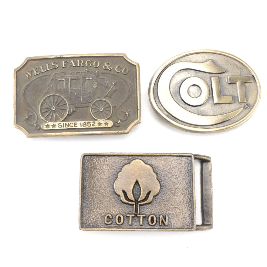 Wells Fargo and Colt Industries Branded Brass Belt Buckles and More