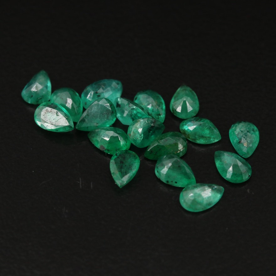 Loose 6.90 CTW Pear Faceted Emeralds