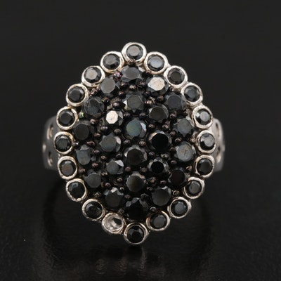 Sterling Silver Black Spinel and Diamond Cluster Ring