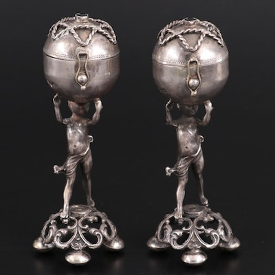 Pair of Imperial Russian 84 Zolotniki Silver Judaica Balsamide, 1894