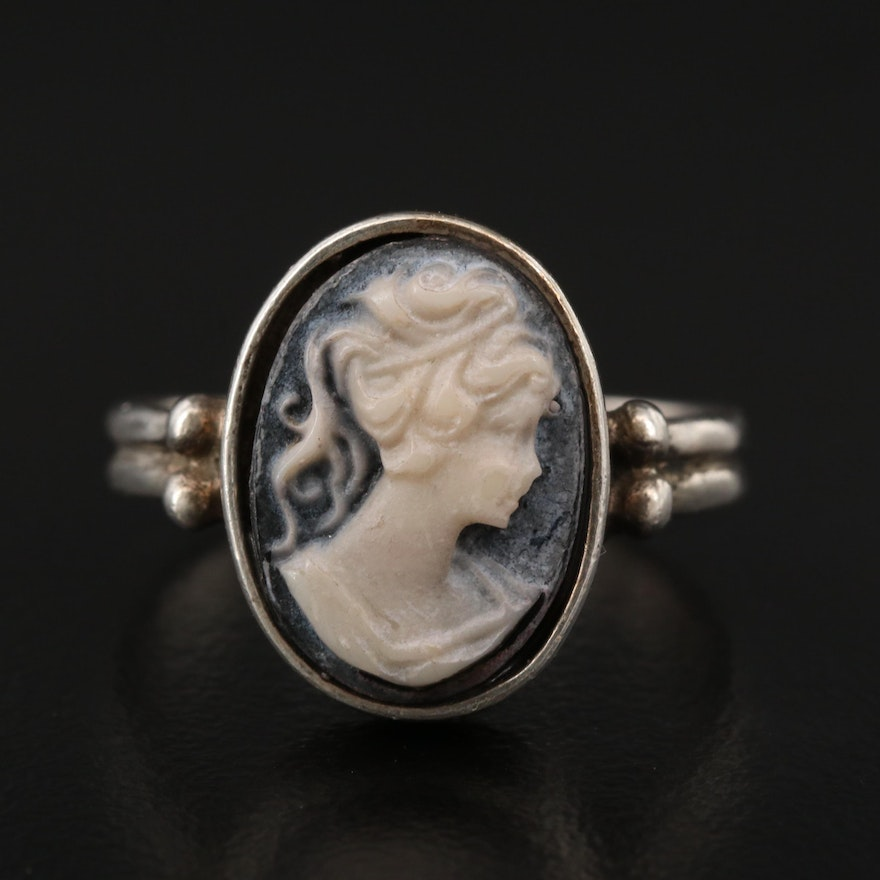 Sterling Silver Onyx Cameo Ring