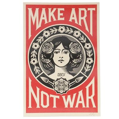 """Shepard Fairey Offset Poster """"Make Art Not War,"""" 2020"""