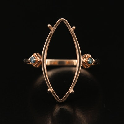 14K Rose Gold Diamond Semi-Mount Ring