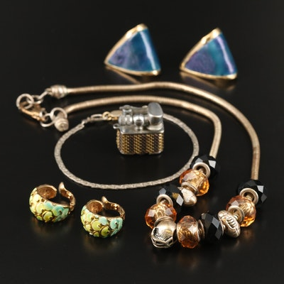 Jewelry Featuring Enamel, Football Themed Charms and Miniature Lighter