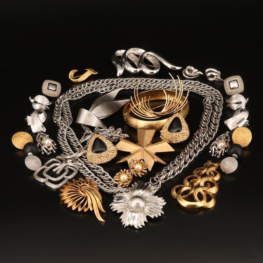 Oscar de la Renta Wooden Clip Earrings and Other Jewelry