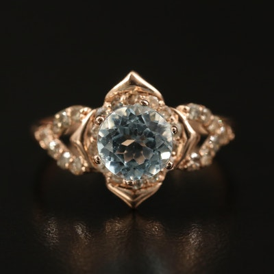 14K Rose Gold Topaz and Diamond  Floral Ring