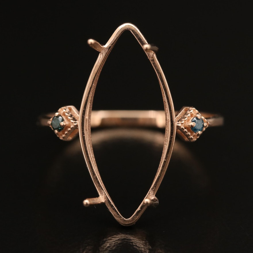14K Rose Gold Blue Diamond Semi-Mount Ring