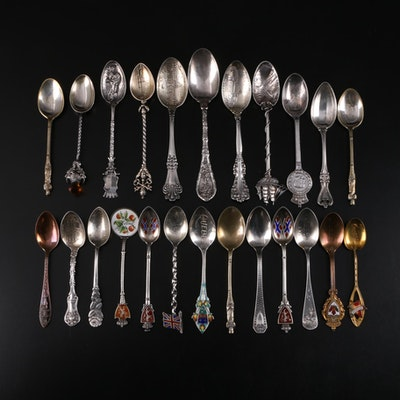 Sterling Silver, 800 Silver, Silver Plate, and Metal Souvenir Spoons