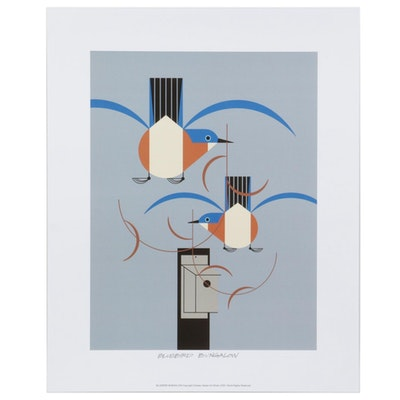 "Offset Lithograph after Charley Harper ""Bluebird Bungalow,"" 2020"