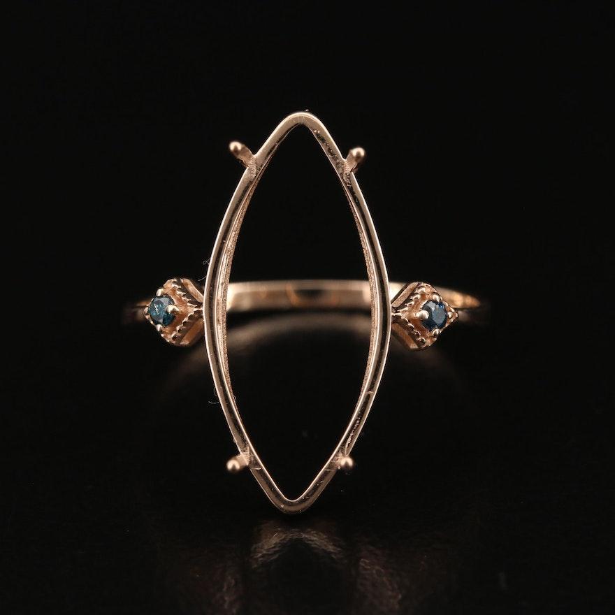 14K Rose Gold Diamond Semi-Mount Ring