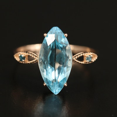 14K Rose Gold Topaz and Diamond Marquise Ring
