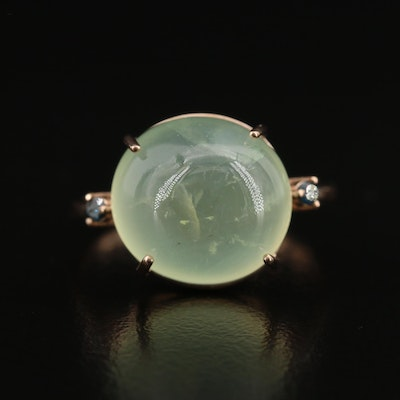 14K Prehnite and Diamond Dome Ring