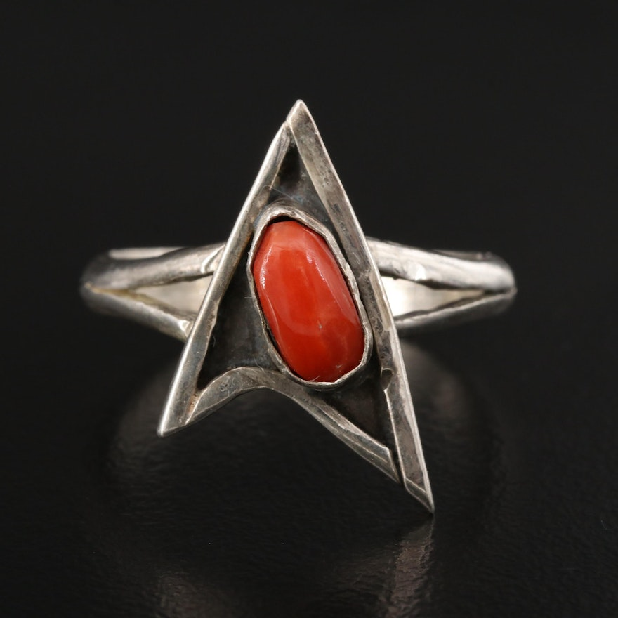 Western Style Sterling Silver Coral Ring