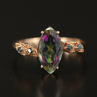 14K Mystic Topaz and Diamond Marquise Ring