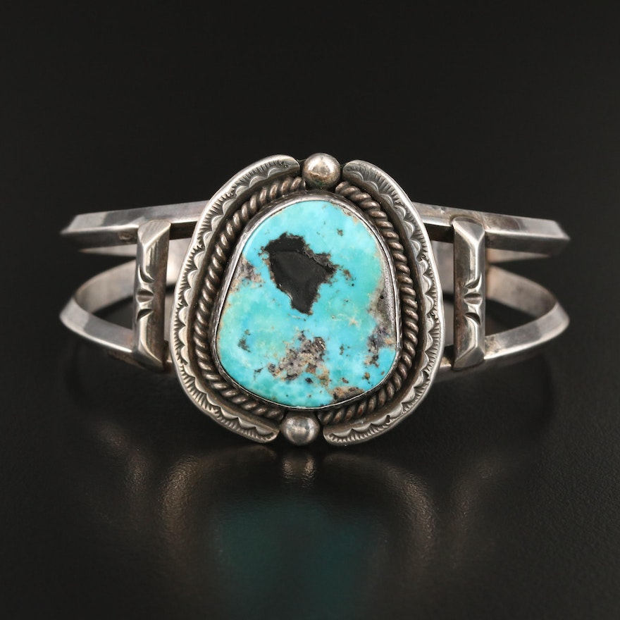 Southwestern Artisan Signed Sterling Silver Turquoise Cuff