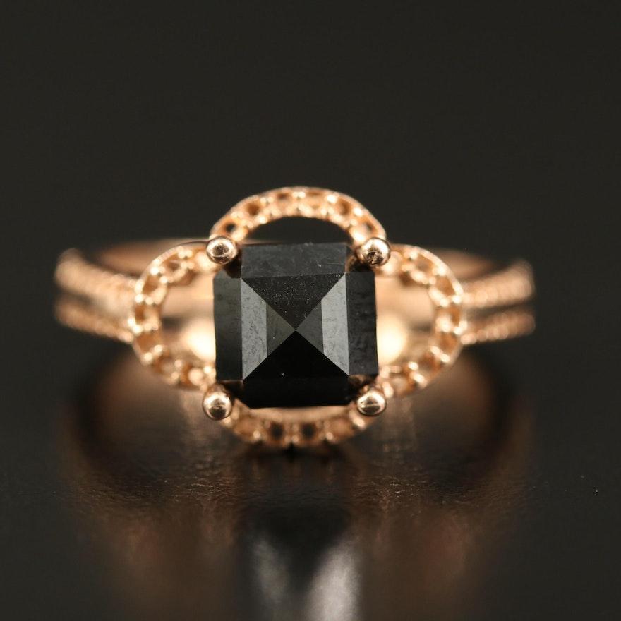 14K Diamond Quatrefoil Semi-Mount Ring