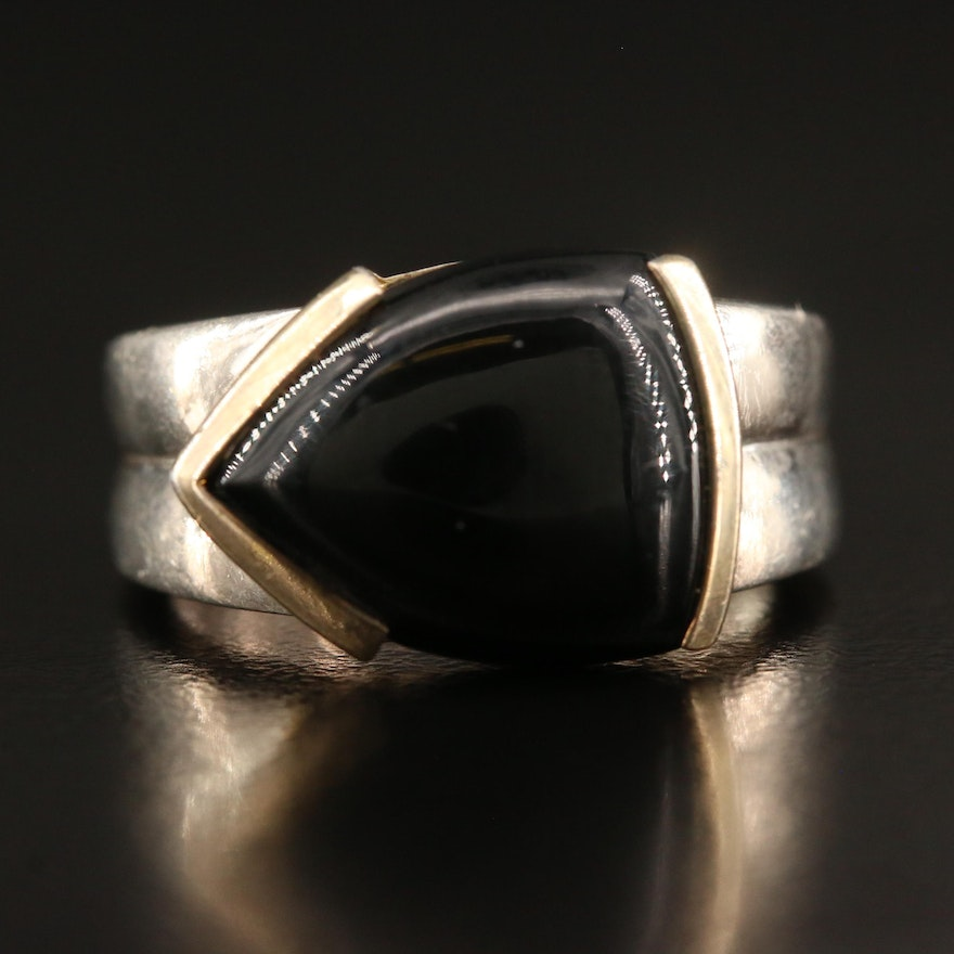 Sterling Silver Half Bezel Black Onyx Ring